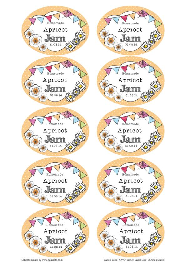 Great British Summer Apricot Jam Jar Labels
