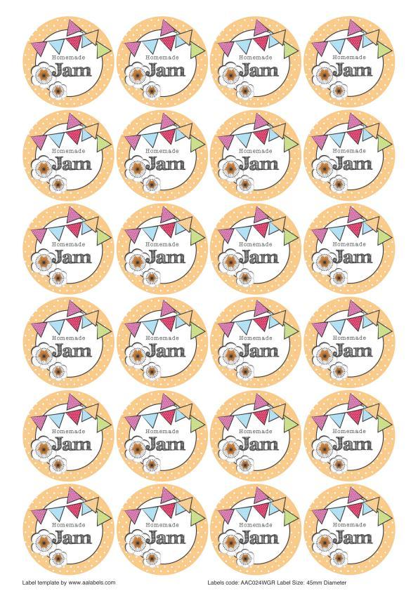 Great British Summer Apricot Jam Jar Lid Labels