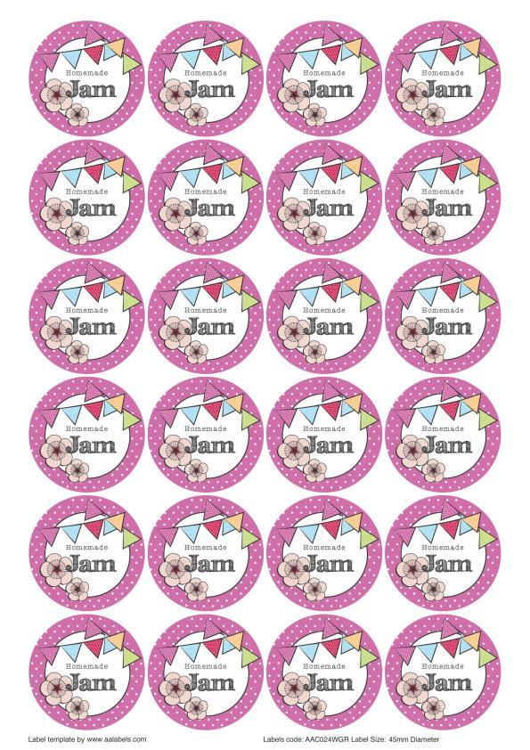 Great British Summer Cherry Jam Jar Lid Labels