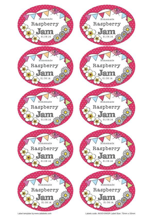Great British Summer Raspberry Jam Jar Labels