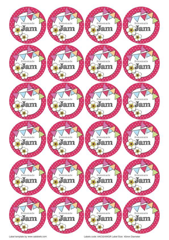 Great British Summer Raspberry Jam Jar Lid Labels