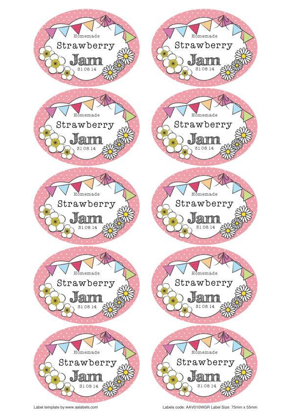 Great British Summer Strawberry Jam Jar Labels