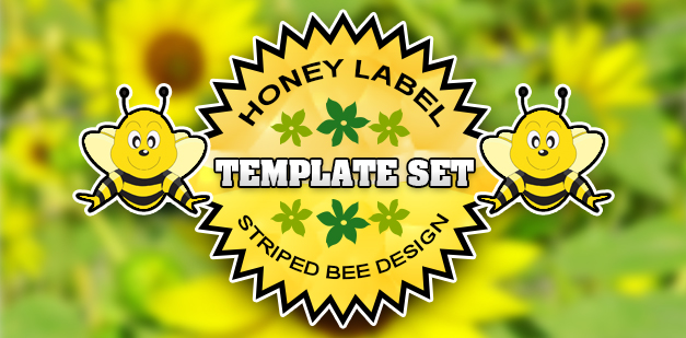 Honey Label Template Set: Striped Bee Design