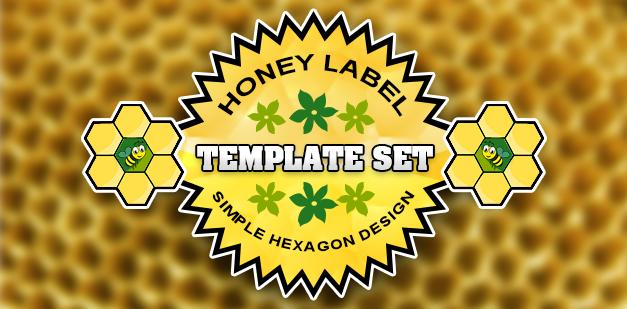 Honey Label Template Set: Simple Hexagon Design