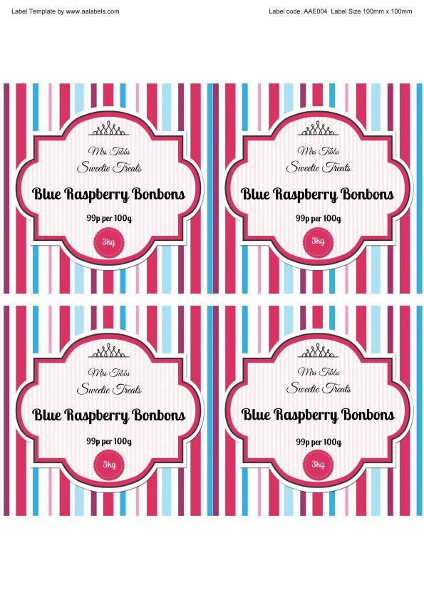 Raspberry Bonbons Sweet Jar Labels Image