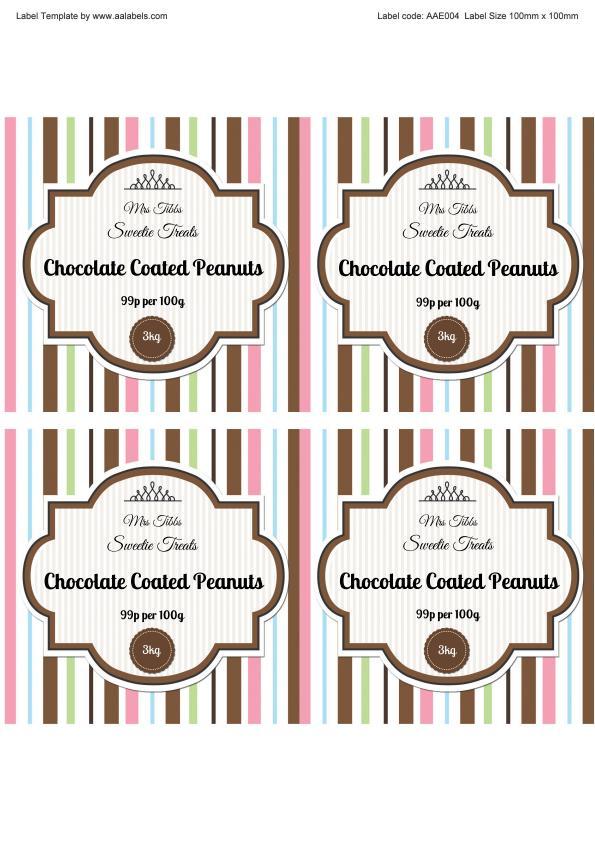 Chocolate Peanuts Sweet Jar Label Image