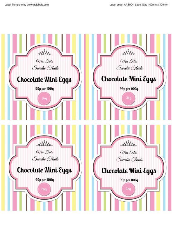 Mini Eggs Sweet Jar Labels Image