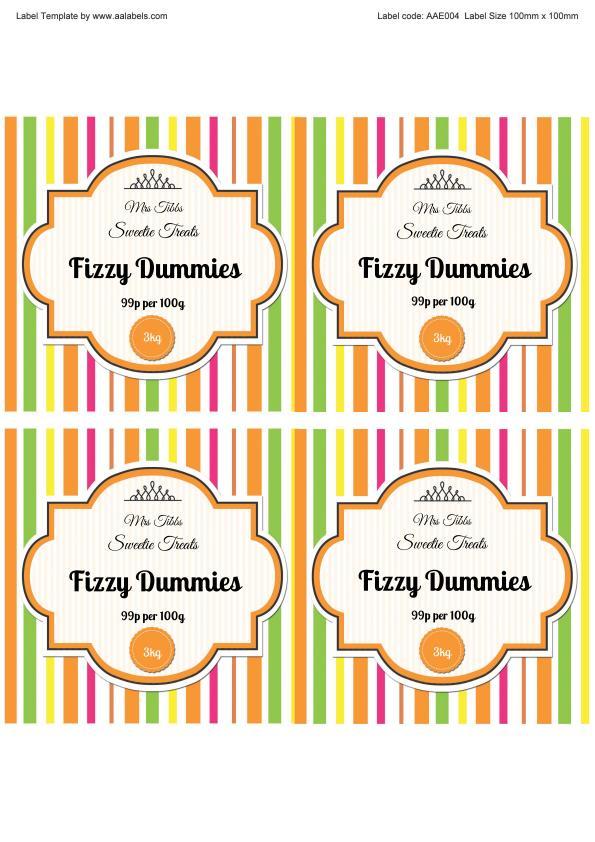 Fizzy Dummies Sweet Jar Label Image