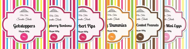 Printable Sweet Jar Labels. Vibrant Candy Stripe Template