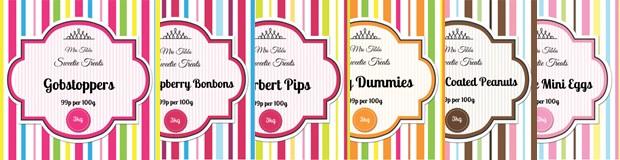 Printable Sweet Jar Labels. Vibrant Candy Stripe Template
