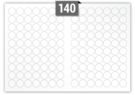 140 Circular Labels per A3 sheet