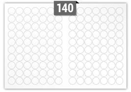140 étiquettes  cercle par feuille -  25 mm Diamètre