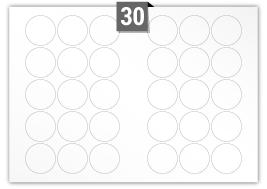 30 étiquettes  cercle par feuille -  51 mm Diamètre