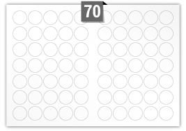70 Circular Labels per A3 sheet