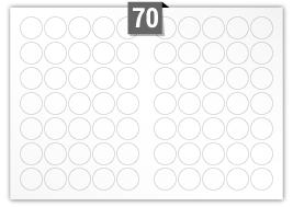 70 étiquettes  cercle par feuille -  35 mm Diamètre