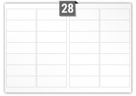 28 étiquettes  rectangulaires par feuille -  99.1 mm x 38.1 mm
