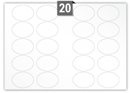 20 étiquettes  ovale par feuille -  75 mm x 55 mm