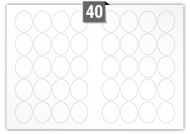 40 étiquettes  ovale par feuille -  40 mm x 50 mm