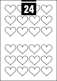 24 Heart Labels per A4 sheet