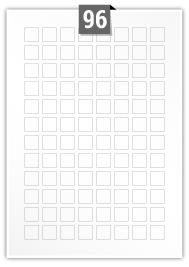 96 Square Labels per A4 sheet