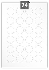 24 Circular Labels per A4 sheet