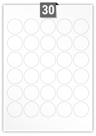 30 Circular Labels per A4 sheet