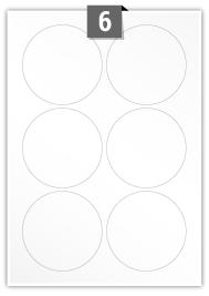 6 étiquettes cercle par feuille -  88 mm Diamètre