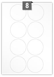 8 étiquettes cercle par feuille -  69 mm Diamètre