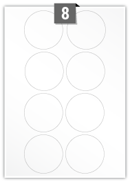 8 Circular Labels per A4 sheet