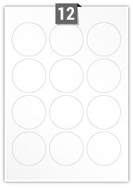 12 étiquettes cercle par feuille -  60 mm Diamètre