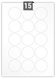 15 étiquettes cercle par feuille -  51 mm Diamètre