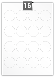 16 Circular Labels per A4 sheet