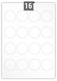 16 Circular Labels per A4 sheet