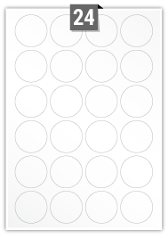 24 Circular Labels per A4 sheet - 45 mm Diameter
