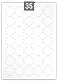 35 Circular Labels per A4 sheet