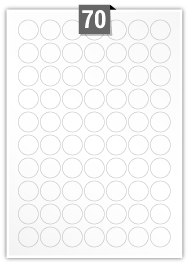 70 Circular Labels per A4 sheet