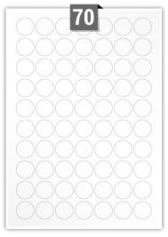 70 Circular Labels per A4 sheet