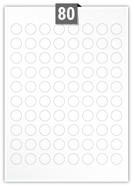 80 Circular Labels per A4 sheet