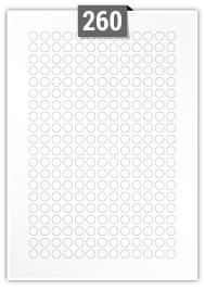 260 Circular Labels per A4 sheet