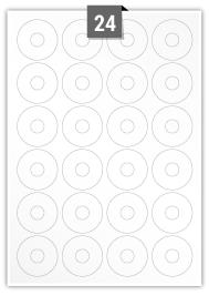 24 étiquettes  cercle par feuille -  45 (15) mm Diamètre