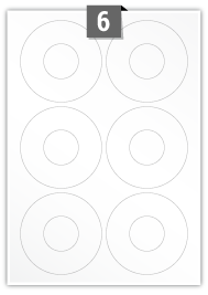 6 Circular Labels per A4 sheet