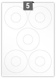 5 Circular Labels per A4 sheet