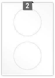 2 étiquettes cercle par feuille -  117 mm Diamètre