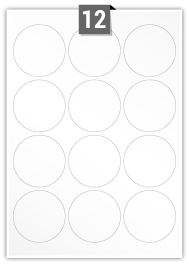12 Circular Labels per A4 sheet - 64 mm Diameter