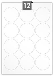 12 étiquettes cercle par feuille -  64 mm Diamètre