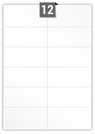 12 étiquettes  rectangulaires par feuille -  104 mm x 49.166 mm