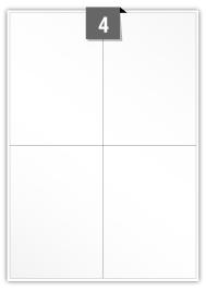 4 étiquettes rectangulaires par feuille -  104 mm x 147.5 mm