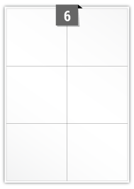 6 étiquettes rectangulaires par feuille -  104 mm x 98.333 mm