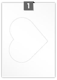 1 étiquette cœur par feuille -  158.4 mm x 183 mm