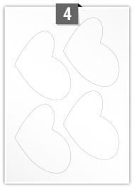 4 Heart Labels per A4 sheet